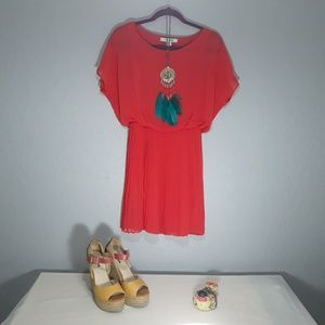 Dresses & Skirts - Forever 21 Coral Pleated Dress   Size M